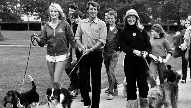 John Noakes, with his dog Skip, taking part in a sponsored Dog Jog in Regent's Park, London, in June 1980. Photograph: PA Wire