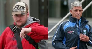 Ronan Stephens (left) from Captain's Road, Crumlin and Brian Stacey from Derry Drive in Crumlin are accused of being drunk during a boat chase on the River Liffey. Photographs: Collins