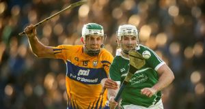 Clare's Aaron Shanagher and Tom Condon of Limerick in action during Clare's win last year.  Photograph: Cathal Noonan/Inpho