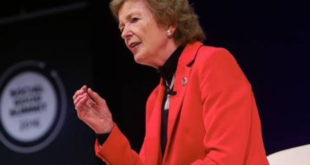 "Former president of Ireland Mary Robinson said: ""It is unconscionable that one of the world's largest greenhouse gas emitters would simply walk away from its responsibility to people both at home and abroad, in the interest of short-term fossil fuel profits."" File photograph: Getty Images"