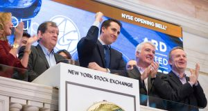 Paul Coulson of Ardagh  rings the opening bell at the New York Stock Exchange in March. In April the group announced 38 per cent increase in earnings in the first quarter of the year