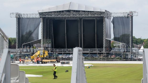 Preparations at the Old Trafford cricket ground ahead of Ariana Grande's One Love Manchester concert this weekend. Photograph: Danny Lawson/PA Wire