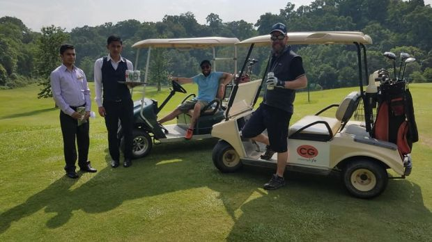 Golf in Kathmandu - we couldn't think of a better activity the day after coming off the mountain!