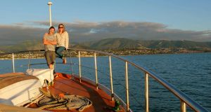 "New Zealand dream boat: Louise Gavin and  Keith Nolan on board 'Kai-Arahi', which  means ""leader"" or ""guidance"" in Maori"