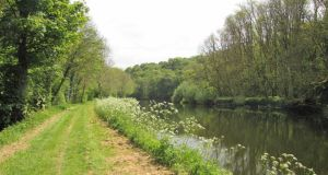 "River Barrow trail: ""The grassy towpath is the green frame for the river,"" according to Olivia O'Leary River Barrow trail: ""The grassy towpath is the green frame for the river,"" according to Olivia O'Leary. Photograph: Paddy Woodworth"