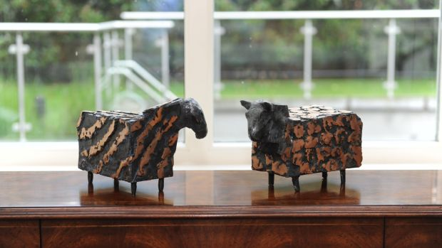 Two bronze sheep sculptures were a wedding present, so they're very special to Lucy Nagle. Photograph: Aidan Crawley