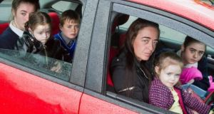 Jennifer O'Regan with her children Charlene (15), Scarlet (5), Michael (11), Victoria (13) and Madison (3): they have  been sleeping in a car as they seek accommodation in Cork. Photograph: Daragh Mc Sweeney/Provision