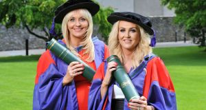 RTÉ broadcaster Miriam O'Callaghan with Traveller activist Brigid Quilligan after they were  conferred with  honorary doctorates at UCC. Photograph: Daragh Mc Sweeney/Provision