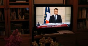 "French president Emmanuel Macron spoke live on TV: paraphrasing Donald Trump, he said it was time for the US, French and allies to ""make our planet great again"". Photograph: John Schults"