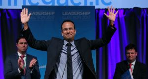 Leo Varadkar celebrates as he is named Fine Gael leader. Photograph: Brian Lawless/PA Wire