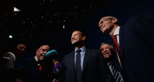 - Leo Varadkar being greeted by Simon Coveney on his arrival at the Count centre.Photograph: Alan Betson / The Irish Times