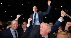 Leo Varadkar hoisted on shoulders after being elected.Photograph: Alan Betson