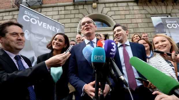 Leo Varadkar's victory: Simon Coveney at Fine Gael headquarters with Kate O'Connell, Simon Harris and other supporters. Photograph: Cyril Byrne