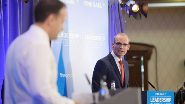 Leo Varadkar's victory: the new Fine Gael leader and his election rival, Simon Coveney, on the hustings. Photograph: Alan Betson