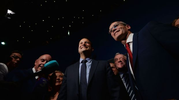 Leo Varadkar's victory: the new Fine Gael leader and his election rival Simon Coveney. Photograph: Alan Betson