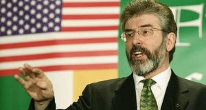 Sinn Féin president Gerry Adams speaks to supporters at a Friends of Sinn Féin  breakfast in Washington on St Patrick's Day 2005 - a year when he  was not invited to the White House St Patrick's Day ceremony. File photograph: Alex Wong/Getty Images