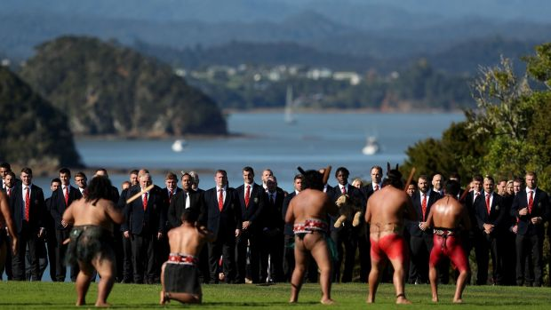 Captain Sam Warburton leads his team to the Maori welcome at the Waitangi Treaty Grounds. Photograph: PA