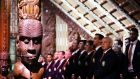 British and Lions head coach Warren Gatland sings with the rest of the team in the meeting house during a Maori welcoming at Waitangi Treaty Grounds. Photograph: Getty Images