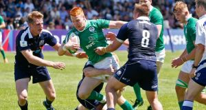Ireland's Gavin Mullin in action against Scotland at the AIA Arena, Kutaisi, Georgia. Photograph: Achi Gegenava/Inpho