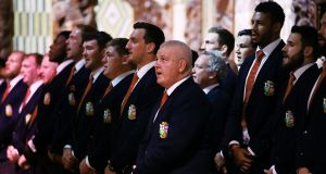Warren Gatland and the Lions singing from the same hymn sheet. Sure there's a lot of money tied up in it. But at heart it's a commercial con job. Photograph: Hannah Peters/AFP/Getty