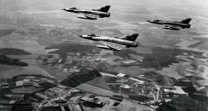 Israeli air force fighters over the Sinai peninsula on the first day of the Six Day war. On the morning of June 5th, 1967, Israeli planes destroyed the entire Egyptian air force on the ground. Photograph: AFP Photo