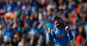 India captain Virat Kohli celebrates the wicket of Pakistan's Azhar Ali during the Champions Trophy game at Edgbaston in Birmingham. Photograph:  Andrew Boyers/Action Images via Reuters/Livepic