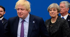British foreign secretary Boris Johnson  and prime minister Theresa May at the Nato summit in Brussels on  May 25th. Photograph: Thierry Charlier/AFP/Getty Images