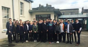 Ada Lovelace Initiative: Sona Harrison (UI and UX Designer – Tapadoo) with the Transition Year students of Newtown School, Newtown, Co Waterford