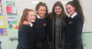 Ada Lovelace initiative: Naomi Freeman (CTO and co-founder of Heuristext) with  Transition Year pupils at Loreto Secondary School, Swords, Co Dublin