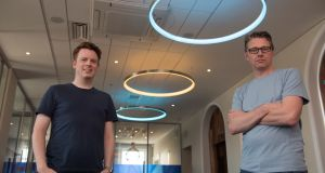 "Plynk co-founders Clive Foley and Charles Dowd. ""Most of the hires will be in Dublin and we're looking for at least 20 programmers,"" says Mr Foley"