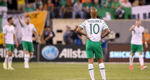 Ireland's David McGoldrick during last week's friendly against Mexico. Photograph: Ryan Byrne/Inpho
