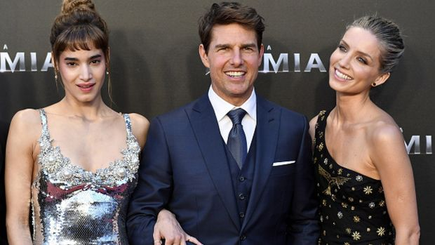 Boutella, Tom Cruise and Annabelle Wallis at the premiere of The Mummy in Madrid. Photograph: Fotonoticias/WireImage