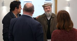 Imam Ibrahim Noonan meeting with Paul Freckling  and Natasha Muldoon of the ARD Resource Centre, and Senator Trevor Ó Clochartaigh, in the Maryam Mosque on the old Monivea Road in Galway on Tuesday. Photograph: Joe O'Shaughnessy.