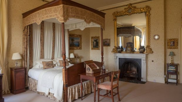 One of the guest bedrooms in Clonalis House, Co Roscommon. Photograph: James Fennell