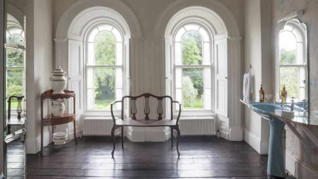 An elegant bathroom at Rossnaree House in Co Meath. Photograph: James Fennell