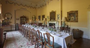 The diningroom at Martinstown, Ballysax, Co Kildare. The tables in many of these country houses  can sit  from 12 to 30 people. Photograph: James Fennell