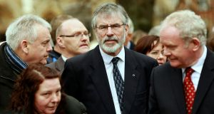 Sinn Féin's Gerry Adams at the funeral of Fr Alec Reid in 2013.  Photograph:  Reuters/Cathal McNaughton
