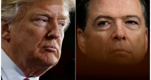 President Donald Trump and FBI director James Comey. Mr Comey will testify  before the Senate intelligence committee on Thursday, where he is expected to be quizzed intensely about his interactions with Mr Trump. Photograph: Jonathan Ernst/Kevin Lamarque/Reuters