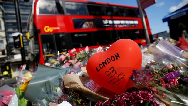 Floral tributes near the scene of the recent attack at London Bridge and Borough Market in central London. Photograph: Reuters/Stefan Wermuth