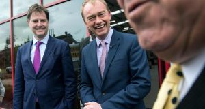 Liberal Democrats party leader Tim Farron (centre) with former party leader Nick Clegg  tour the Gripple factory in Sheffield, Yorkshire, on Tuesday. Photograph:  Oli Scarff/AFP/Getty Images