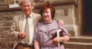 Seamus Heaney and Helen Vendler outside Sligo Town Hall in 1987 for the WB Yeats Summer School
