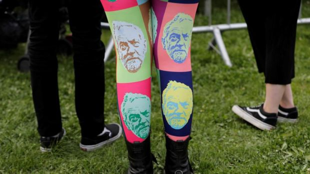 A campaign with legs: Jeremy Corbyn leggings at the Labour leader's Birmingham rally. Photograph: Darren Staples/Reuters