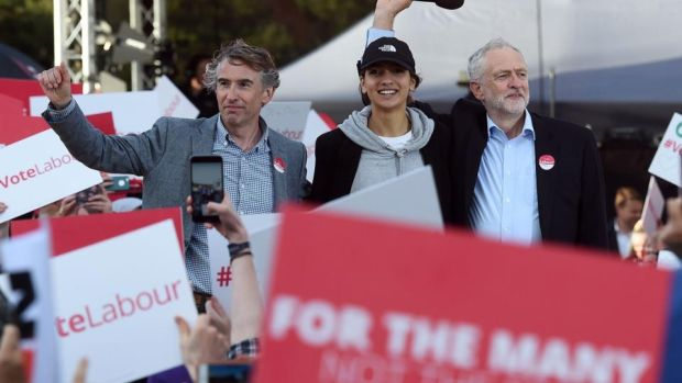 Big draw: Jeremy Corbyn with the comedian Steve Coogan, who compered the rally, and supporter Saffiyah Khan. Photograph: Paul Ellis/AFP/Getty