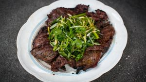 Donal Skehan's soy ginger BBQ steak with sesame and coriander salad