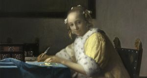 At the National Gallery of Ireland: Lady Writing, by Jan Vermeer, from Vermeer and the Masters of Genre Painting: Inspiration and Rivalry