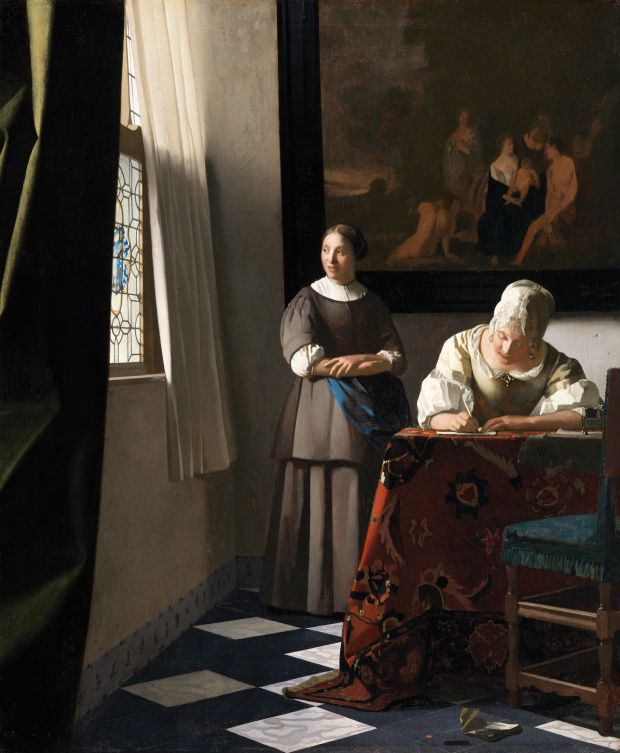 At the National Gallery of Ireland: Woman Writing a Letter, with Her Maid, by Jan Vermeer, from Vermeer and the Masters of Genre Painting: Inspiration and Rivalry