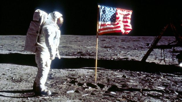 "Astronaut Edwin ""Buzz"" Aldrin next to the US flag on July 20th, 1969 on the Moon during the Apollo 11 mission. File photograph: Nasa/Getty"