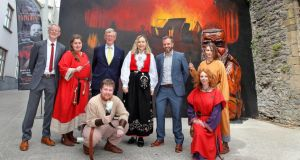 At the opening of the King of the Vikings exhibition in Waterford were the mayor of Waterford City and County Council, Cllr Adam Wyse; Norwegian ambassador Berit Eikeland; Waterford Treasures Museums chairman Desmond Miller; Emagine Emagine co-founder Peter Grogan; and Viking Reality Experience actors Peggy Devlin, Ann Marie Heavey, Cian Manning and Joanne Tuohy. Photograph: Noel Browne