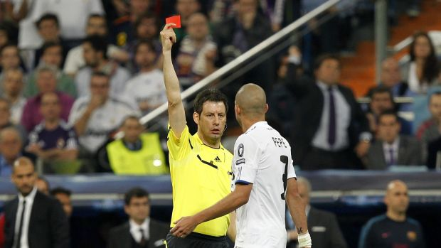 Referee Wolfgang Stark sends off Pepe against Barcelona in 2011. Photograph: Getty Images