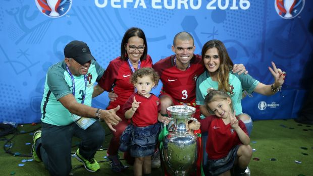 Celebrating Portugal's Euro 2016 success with his family. Photograph: Getty Images